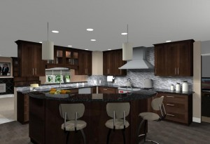 Contemporay kitchen and game room remodel