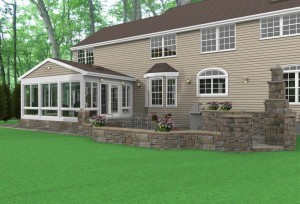 computer design of outdoor living space, patio, and sunroom