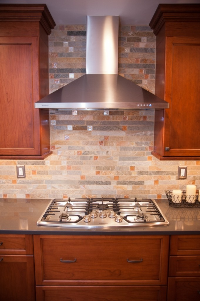 Fire and ice tile backsplash