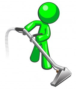 Green Man with Steam Cleaner Carpet Wand
