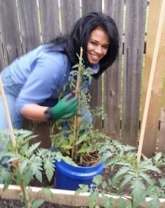 Becca working in the Organic Gurlz Gardens Fort Wayne Indiana