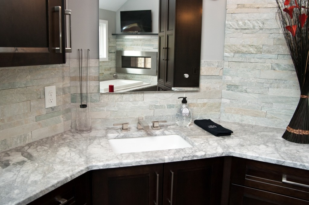 White quartzite instead of marble for countertops toms Master tiles design for kitchen