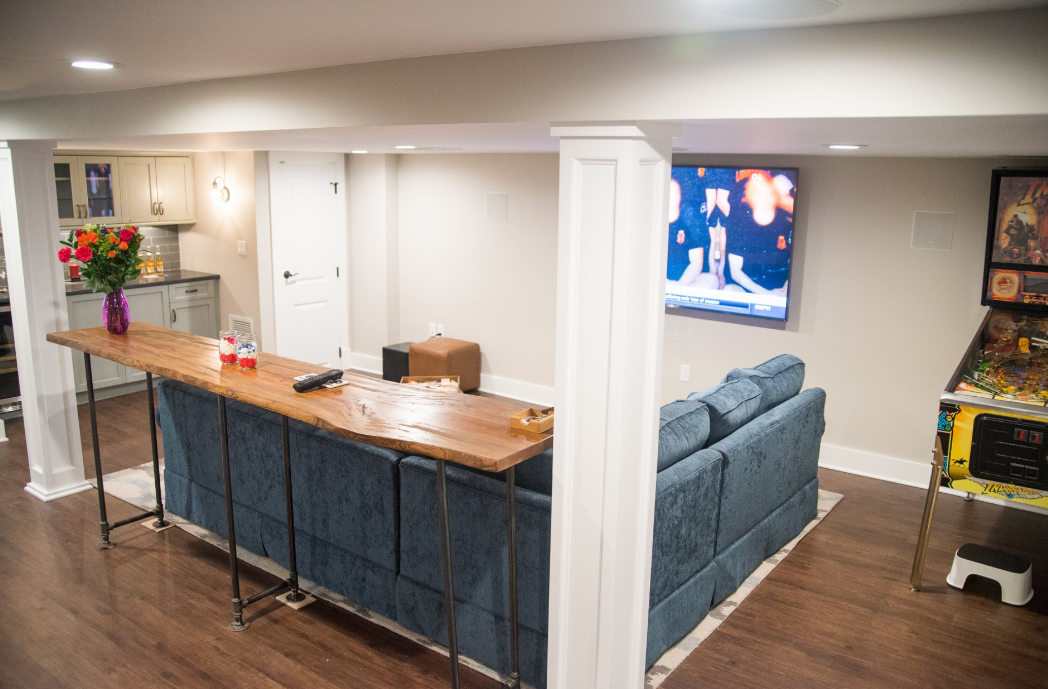 Design Tip: Counter Seating for TV Media Room - Design Build Planners