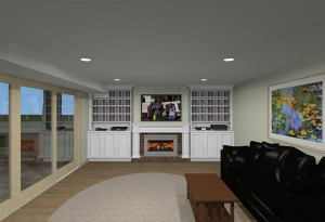 Family room design update and remodel