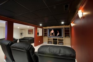basement remodel with theater room designed by the Design Build Planners