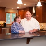 Very happy clients after kitchen design build remodeling project in New Jersey