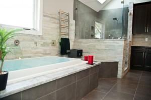 Spa-styled master bathroom remodel in Rockaway, Morris County, NJ