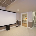 Basement renovation featuring home theater (6)