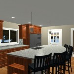 Large Family Kitchen with an Island Design 3c