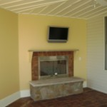 fireplace and television