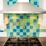 Blue and green glass tile for a backsplash on a kitchen remodel