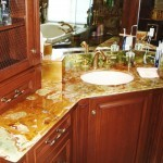 Green onyx counter top for a bathroom remodel