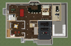 Dollhouse Overview of a Basement Remodel in Bridgewater NJ CAD (1)-Design Build Planners