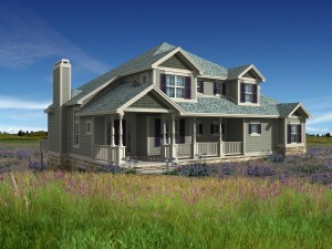 3d Model of prairie house photo-matched in landscape
