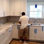 Day 40 - Monmouth County NJ Kitchen Remodel - marble tile backsplash installation (2)