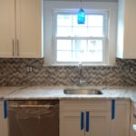 Day 40 - Monmouth County NJ Kitchen Remodel - marble tile backsplash installation (5)